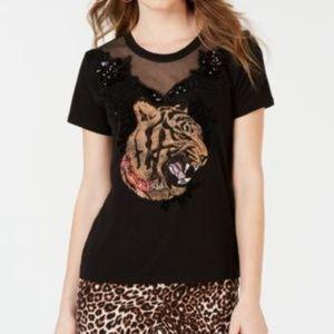 GUESS Embellished Mesh-Trim T-Shirt Jet Black